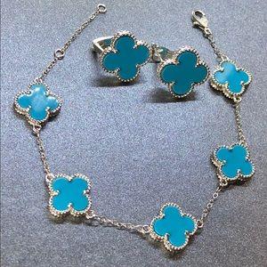 Turquoise bracelet & Earrings Four Leaf Clover Set